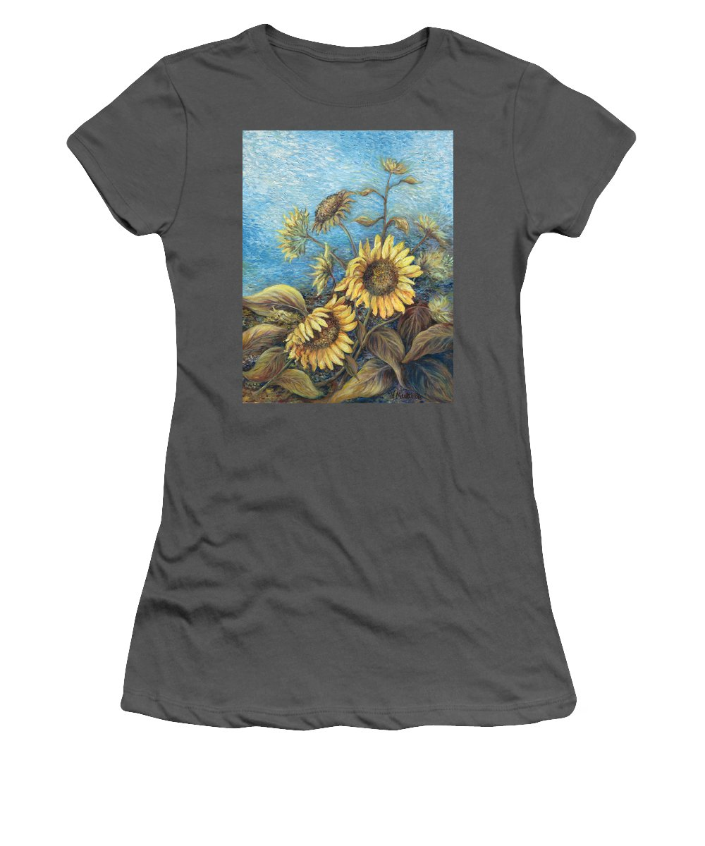 Sunflowers Women's T-Shirt (Athletic Fit) featuring the painting Late Sunflowers by Valerie Meotti