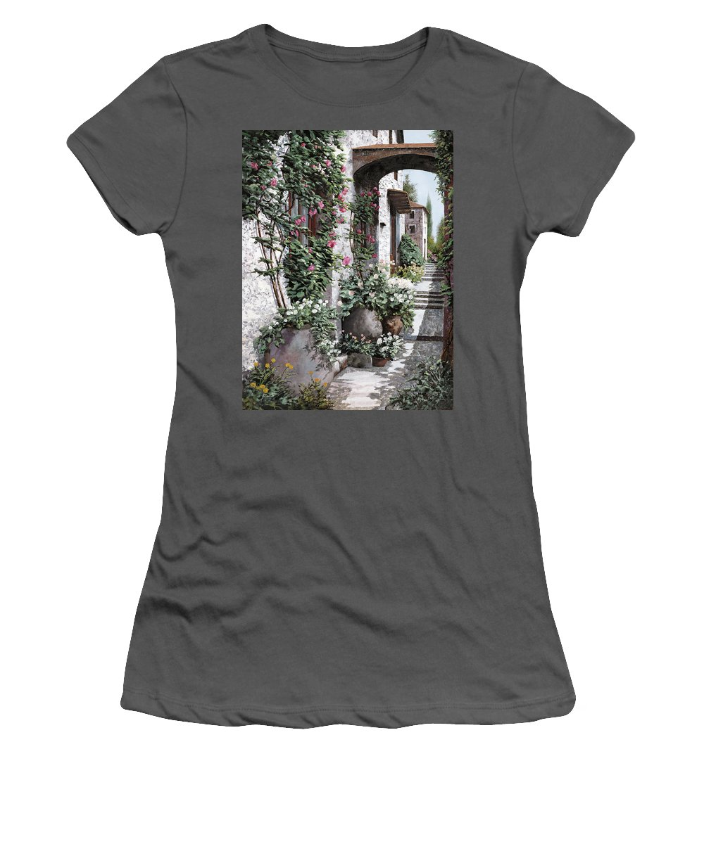 Arch Women's T-Shirt (Athletic Fit) featuring the painting Le Rose Rampicanti by Guido Borelli