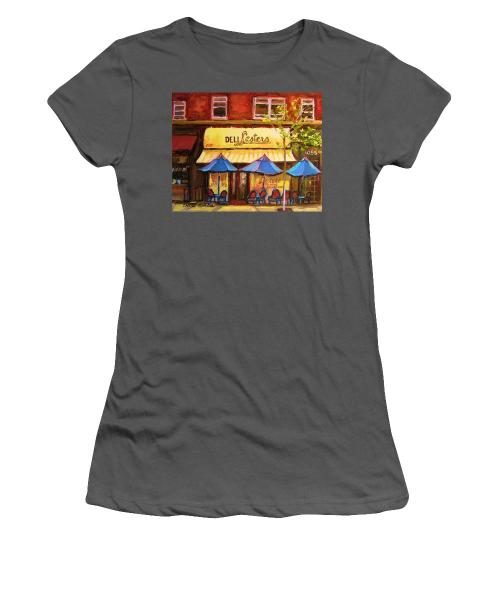 Lesters Deli Women's T-Shirt (Athletic Fit) featuring the painting Lesters Cafe by Carole Spandau
