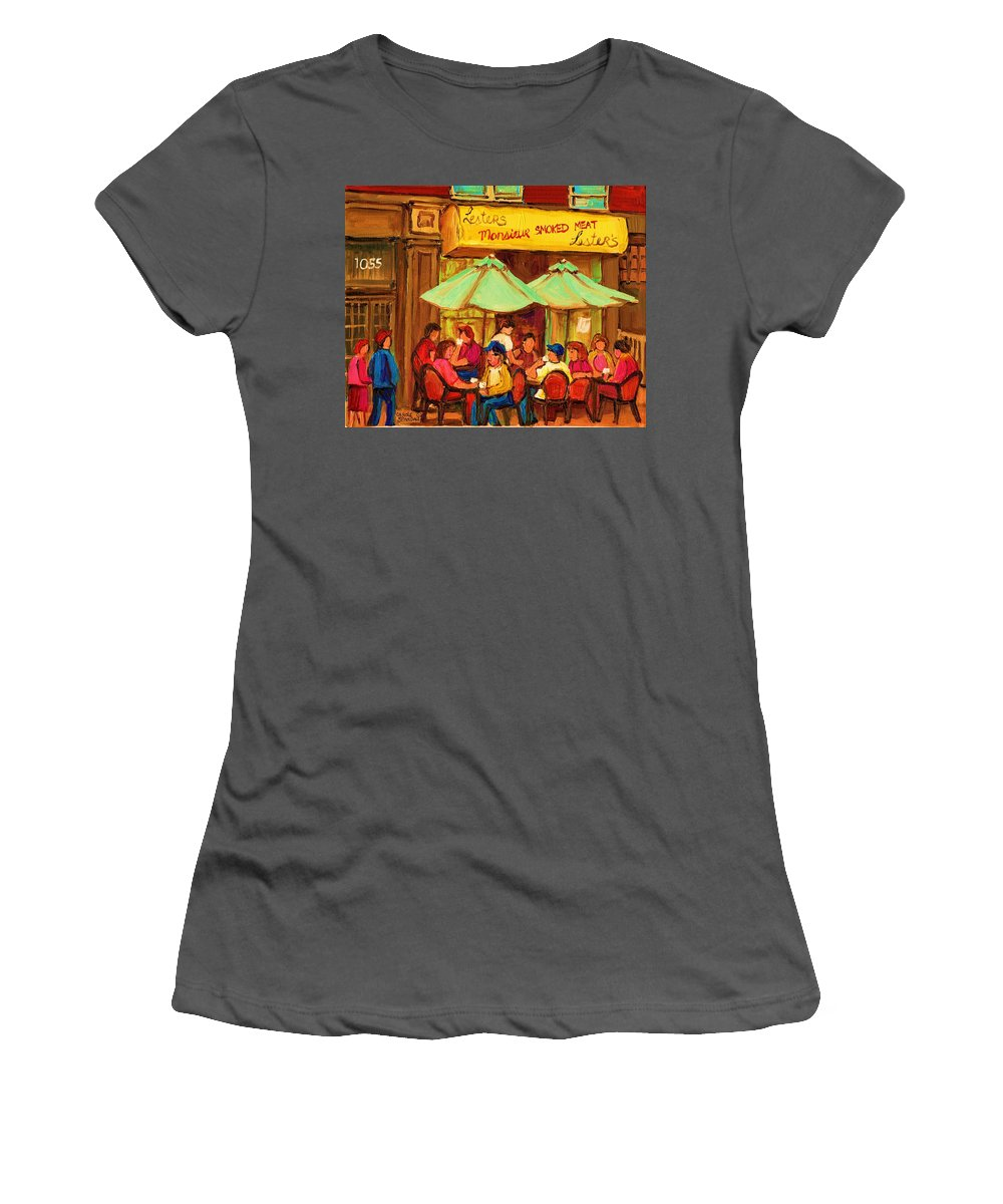 Lesters Monsieur Smoked Meat Cafe Women's T-Shirt (Athletic Fit) featuring the painting Lesters Monsieur Smoked Meat by Carole Spandau