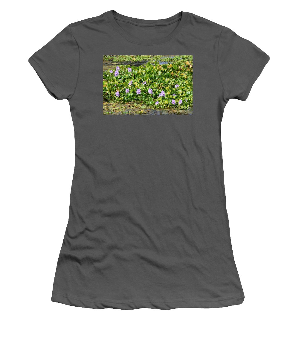 Wetlands Women's T-Shirt (Athletic Fit) featuring the photograph Lettuce Lake Flowers by Carol Groenen