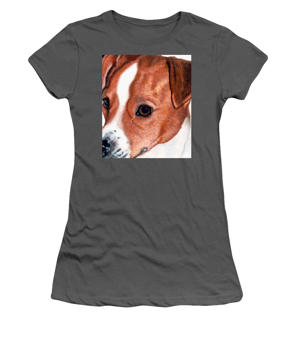 Jack Russell Terrier Women's T-Shirt (Athletic Fit) featuring the drawing Lewie by Kristen Wesch