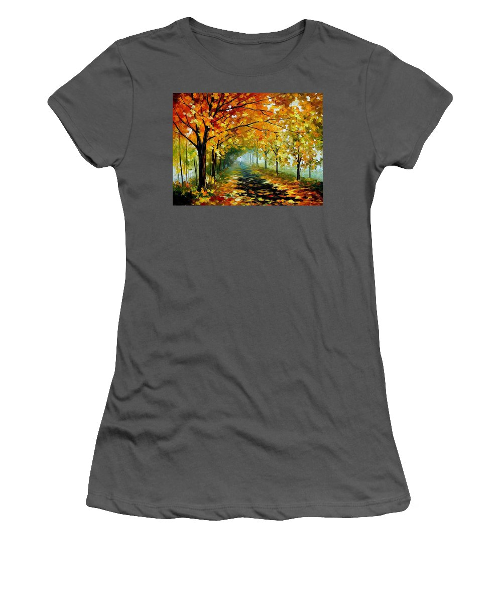 Afremov Women's T-Shirt (Athletic Fit) featuring the painting Light In The Fog by Leonid Afremov