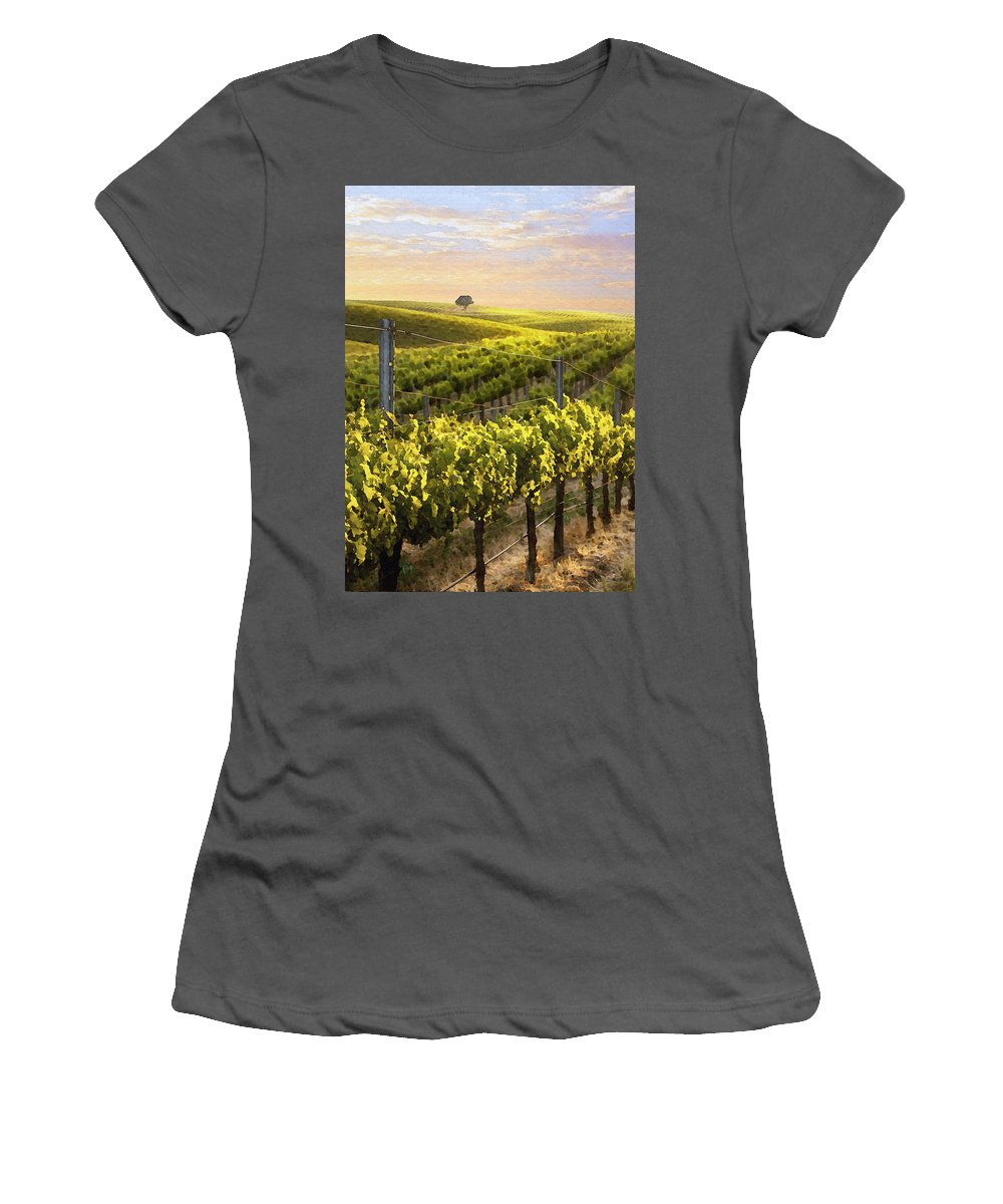 Vineyard Women's T-Shirt (Athletic Fit) featuring the digital art Lighted Vineyard by Sharon Foster