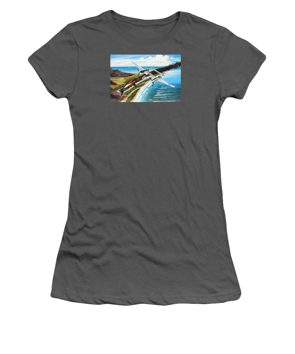 Aviation Women's T-Shirt (Athletic Fit) featuring the painting Lightning Over Mindoro by Marc Stewart