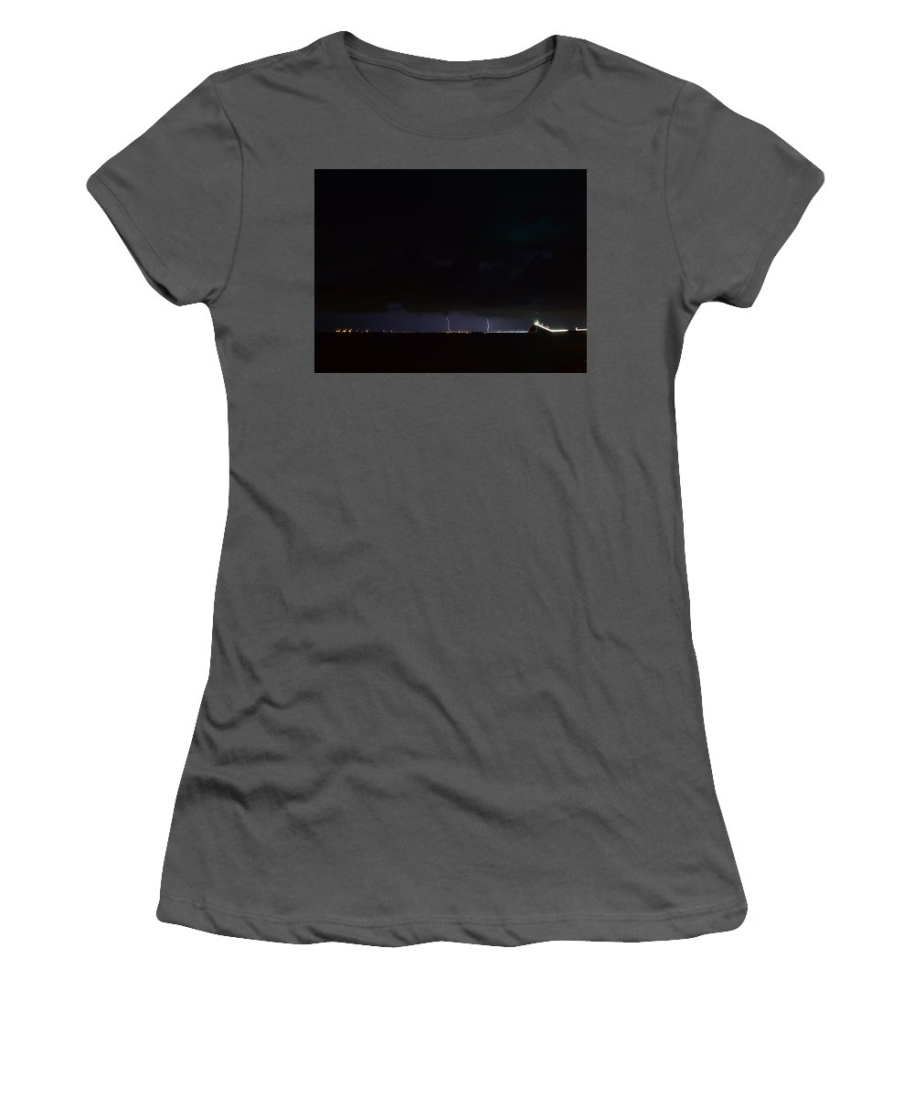 Women's T-Shirt (Athletic Fit) featuring the photograph Lightning Skyway by Daniel Pollard