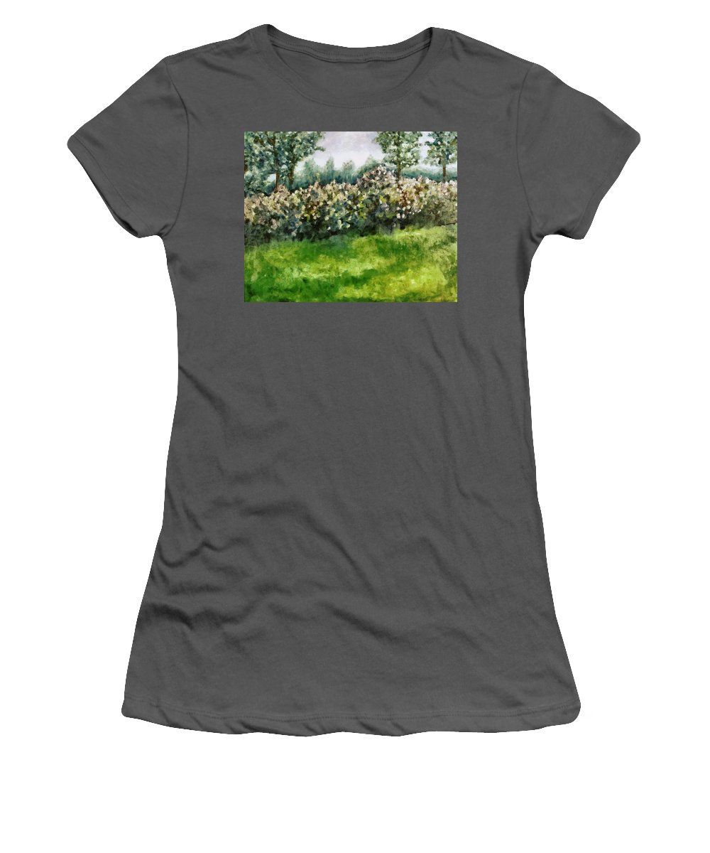 Spring Women's T-Shirt (Athletic Fit) featuring the painting Lilac Bushes In Springtime by Michelle Calkins