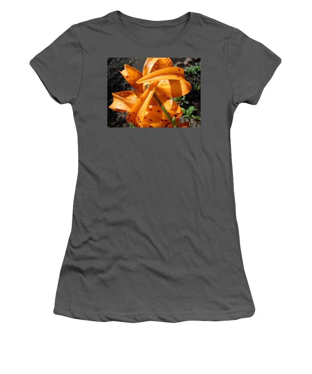 Lilies Women's T-Shirt (Athletic Fit) featuring the photograph Lily Flower Art Prints Tiger Lilies Giclee Baslee Troutman by Baslee Troutman