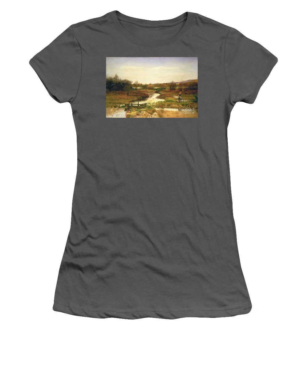Lingering Autumn Women's T-Shirt (Athletic Fit) featuring the painting Lingering Autumn by Sir John Everett Millais
