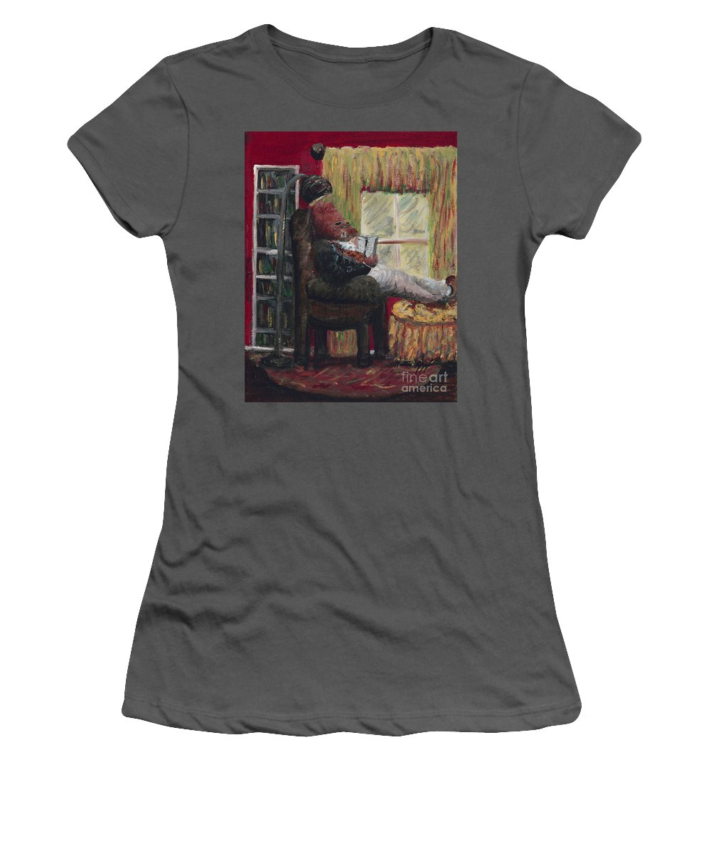 Hog Women's T-Shirt (Athletic Fit) featuring the painting Literary Escape by Nadine Rippelmeyer