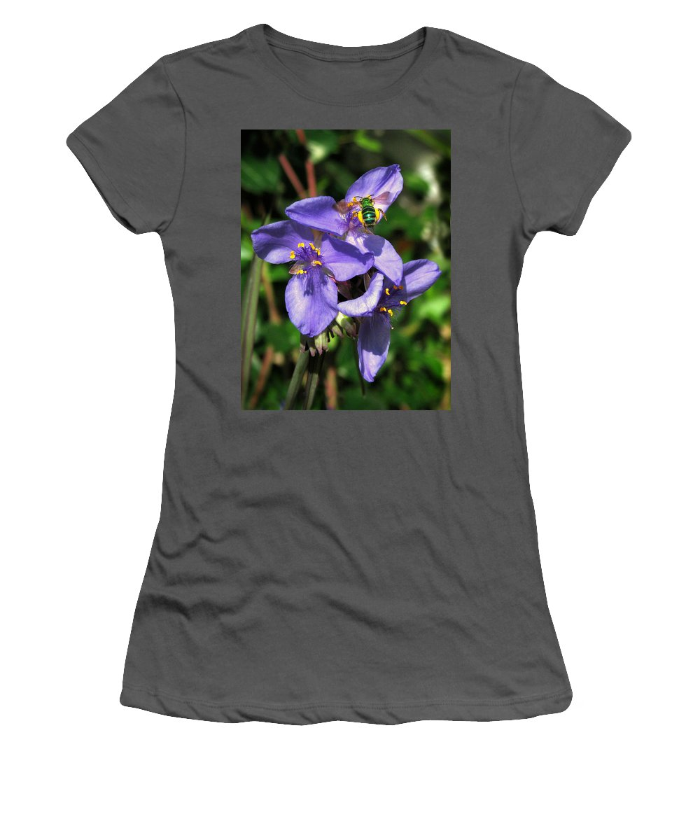 Nature Women's T-Shirt (Athletic Fit) featuring the photograph Little Green Bee by Peg Urban
