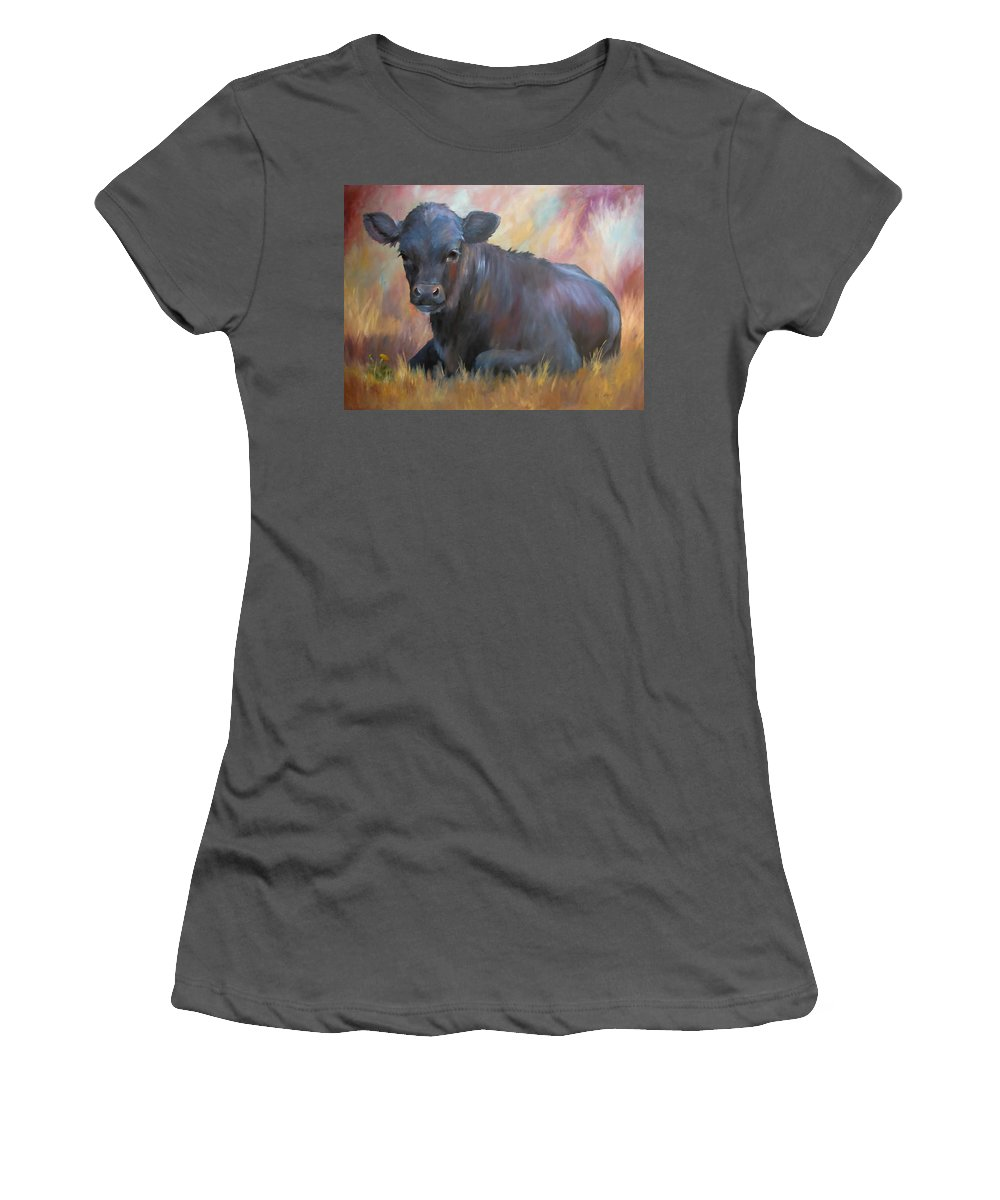 Calf Women's T-Shirt (Athletic Fit) featuring the painting Little Moo Angus Calf Painting Southwest Art by Kim Corpany