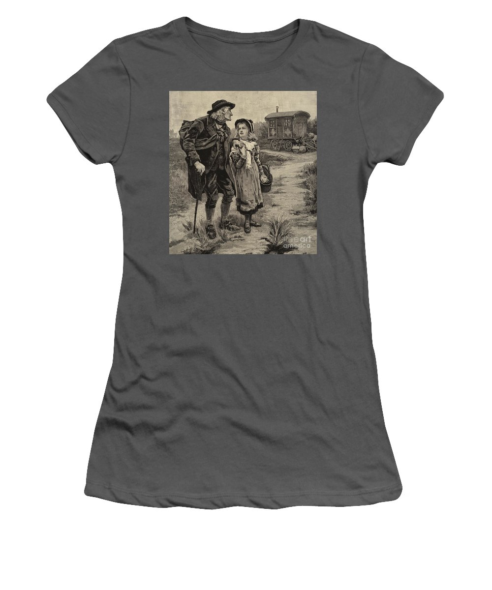 Nell Women's T-Shirt (Athletic Fit) featuring the drawing Little Nell And Her Grandfather by Frederick Morgan