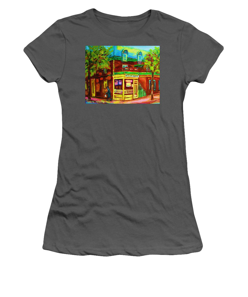 Montreal Streetscenes Women's T-Shirt (Athletic Fit) featuring the painting Little Shop On The Corner by Carole Spandau