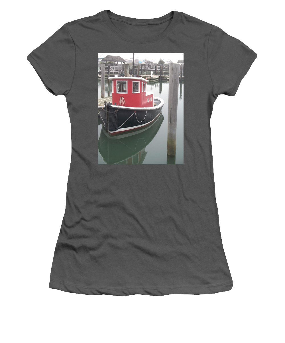 Tugboat Women's T-Shirt (Athletic Fit) featuring the painting Little Tug by Eric Schiabor