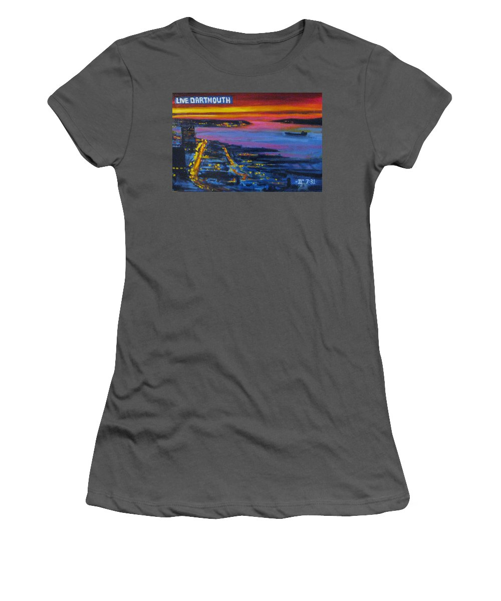 Night Scenes Women's T-Shirt (Athletic Fit) featuring the painting Live Eye Over Dartmouth Ns by John Malone