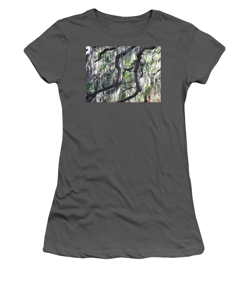 Spanish Moss Women's T-Shirt (Athletic Fit) featuring the photograph Live Oak With Spanish Moss And Palms by Carol Groenen