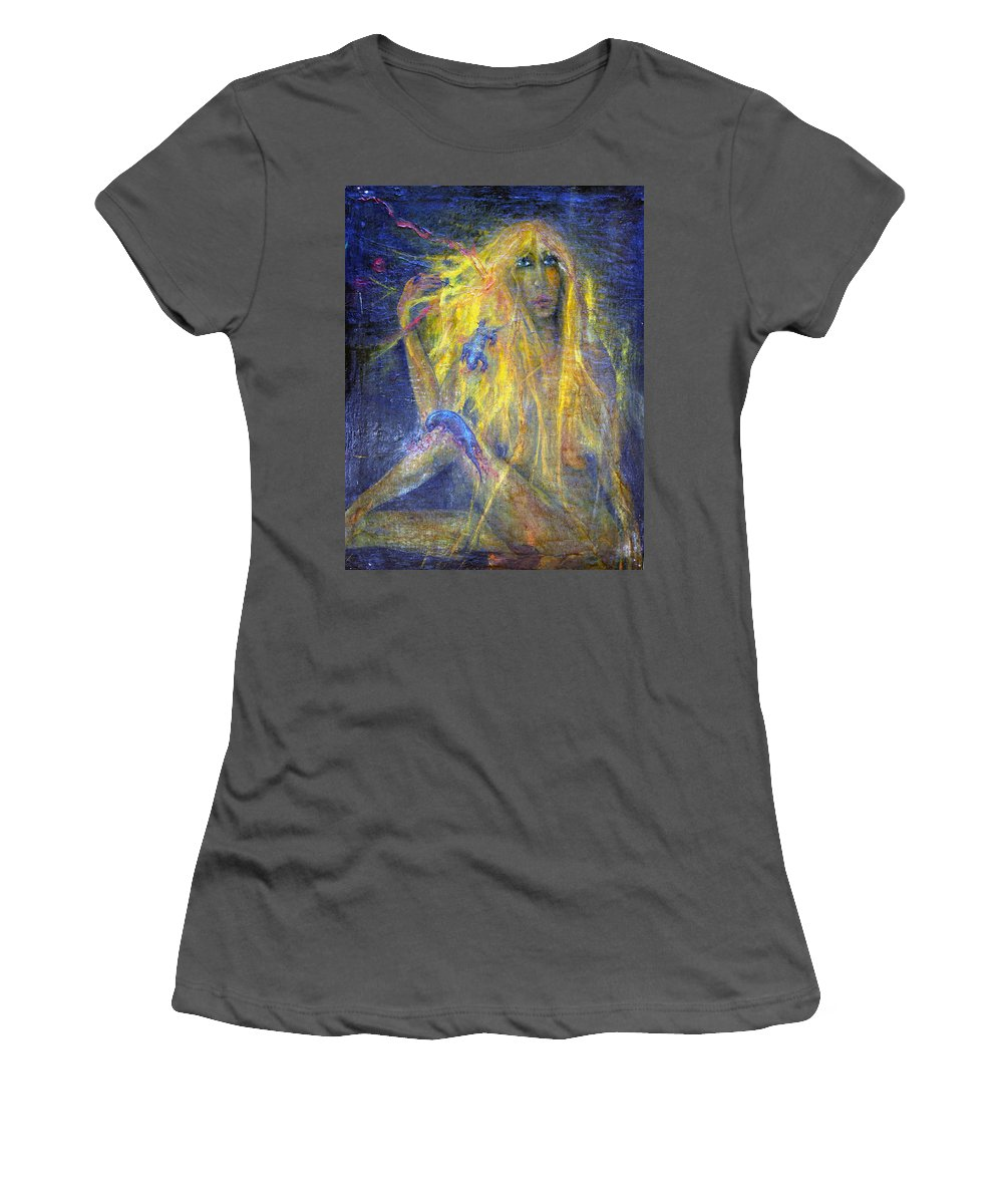 Imagination Women's T-Shirt (Athletic Fit) featuring the painting Lizard by Wojtek Kowalski