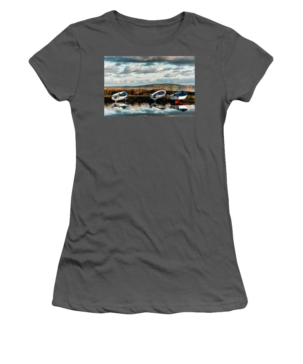 Orkney Women's T-Shirt (Athletic Fit) featuring the photograph Loch Harray Dawn Iv by M M Rainey