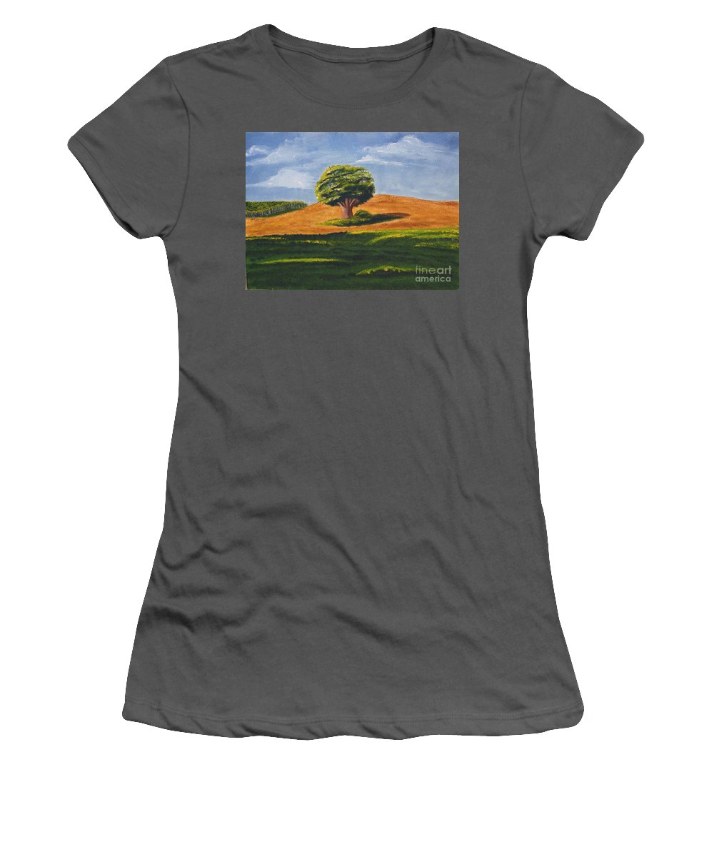 Tree Women's T-Shirt (Athletic Fit) featuring the painting Lone Tree by Mendy Pedersen