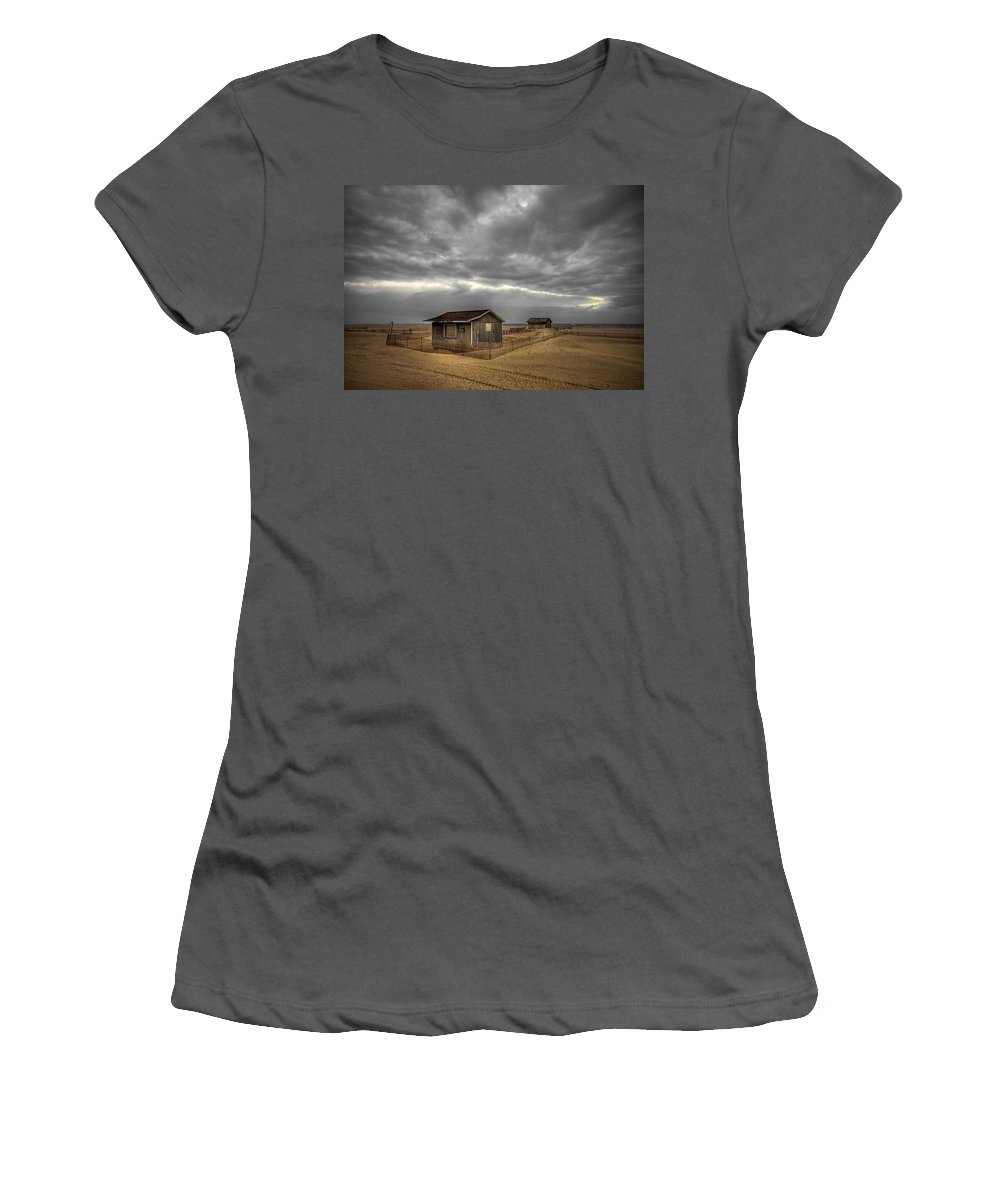 Beach Women's T-Shirt (Athletic Fit) featuring the photograph Lonely Beach Shacks by Evelina Kremsdorf