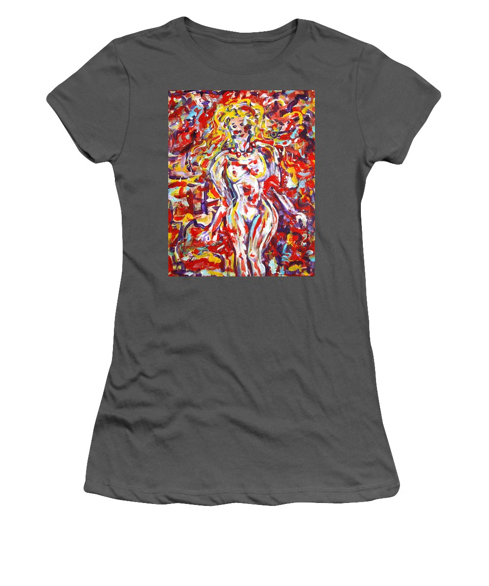 Expressionism Women's T-Shirt (Athletic Fit) featuring the painting Longing For You by Natalie Holland