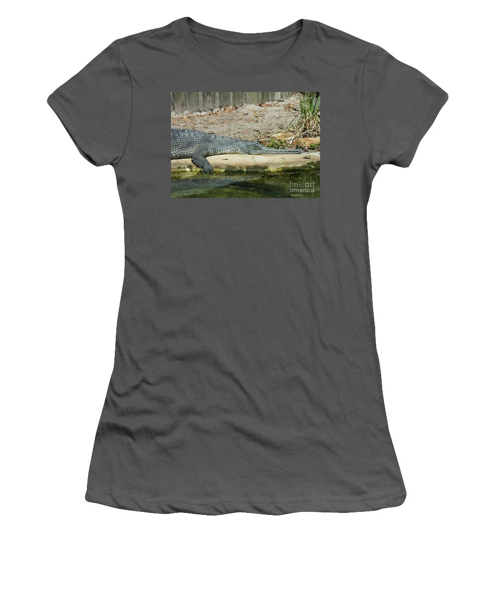 Alligator Women's T-Shirt (Athletic Fit) featuring the photograph Look At All Those Teeth by Deborah Benoit