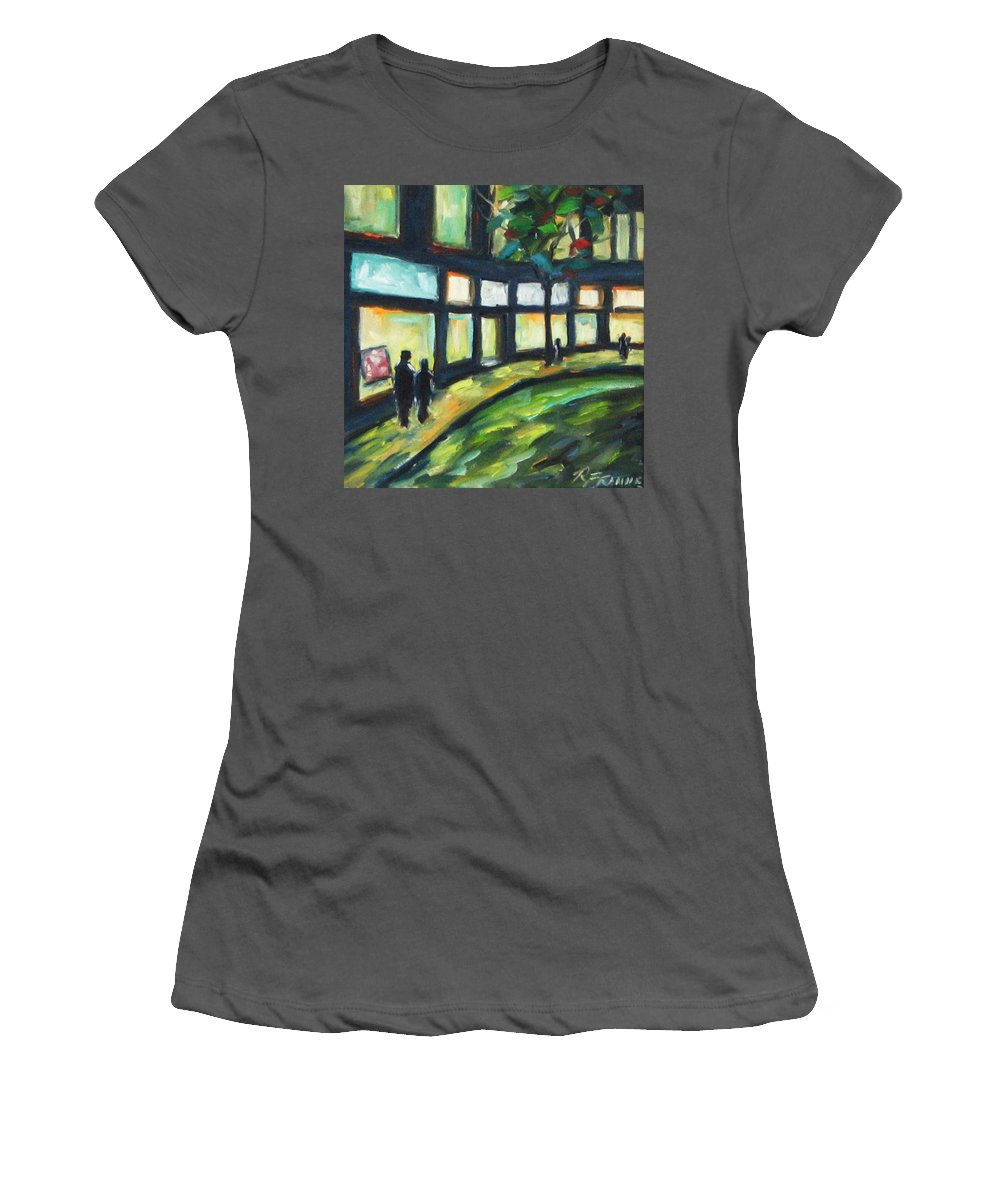 Town Women's T-Shirt (Athletic Fit) featuring the painting Looking On by Richard T Pranke