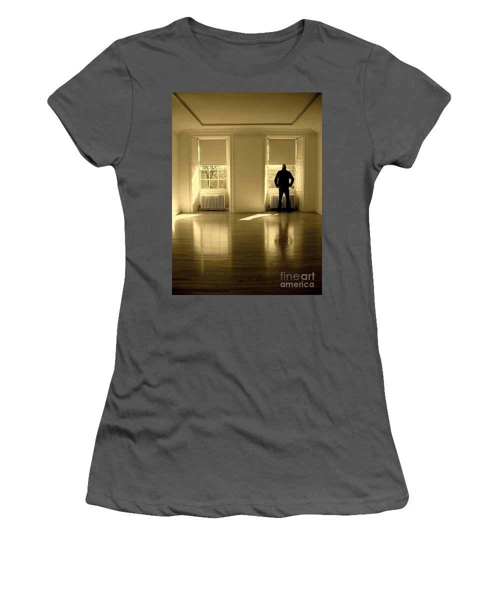 Man Women's T-Shirt (Athletic Fit) featuring the photograph Looking Out by Caroline Peacock