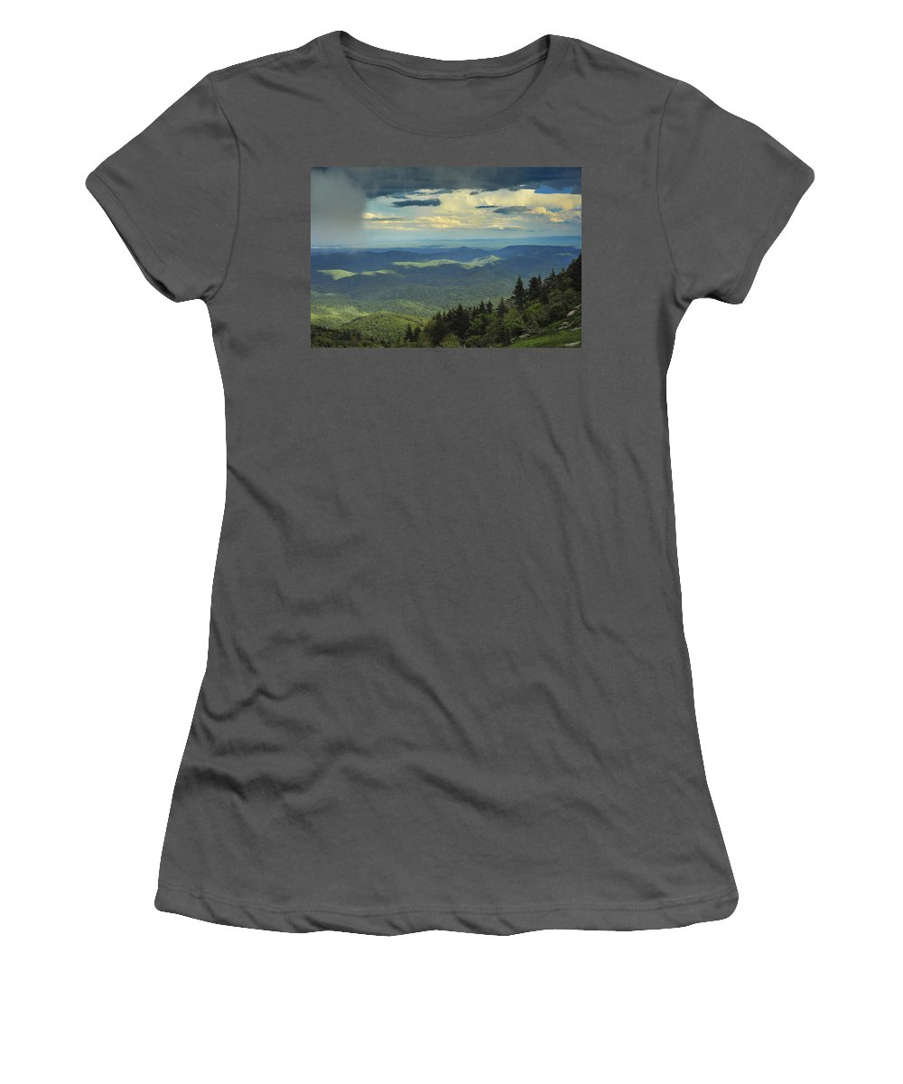 Grandfather Mountain Women's T-Shirt (Athletic Fit) featuring the photograph Looking Over The Valley by Joye Ardyn Durham