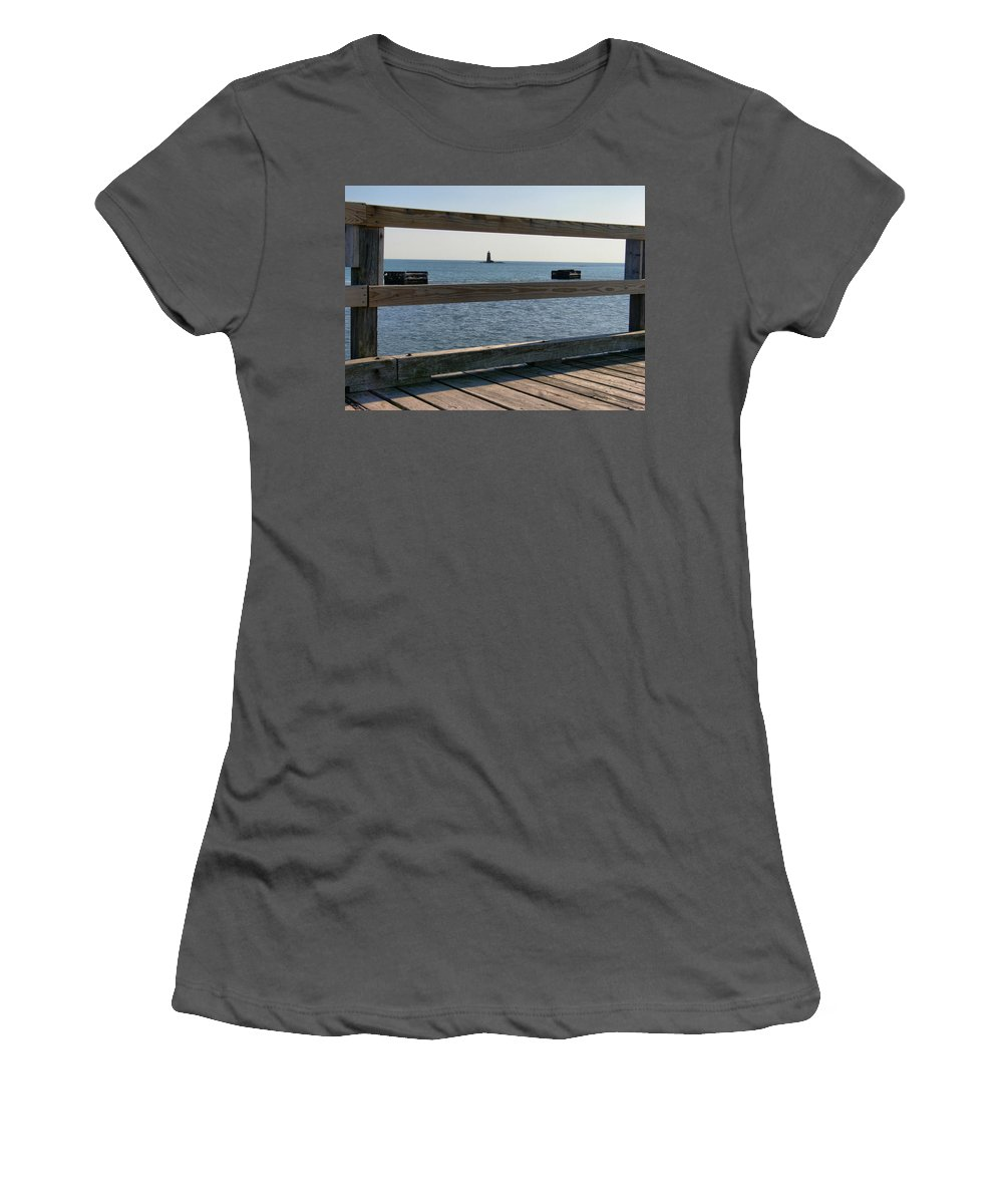 New England Lighthouse Women's T-Shirt (Athletic Fit) featuring the photograph Looking Through by Nancie DeMellia