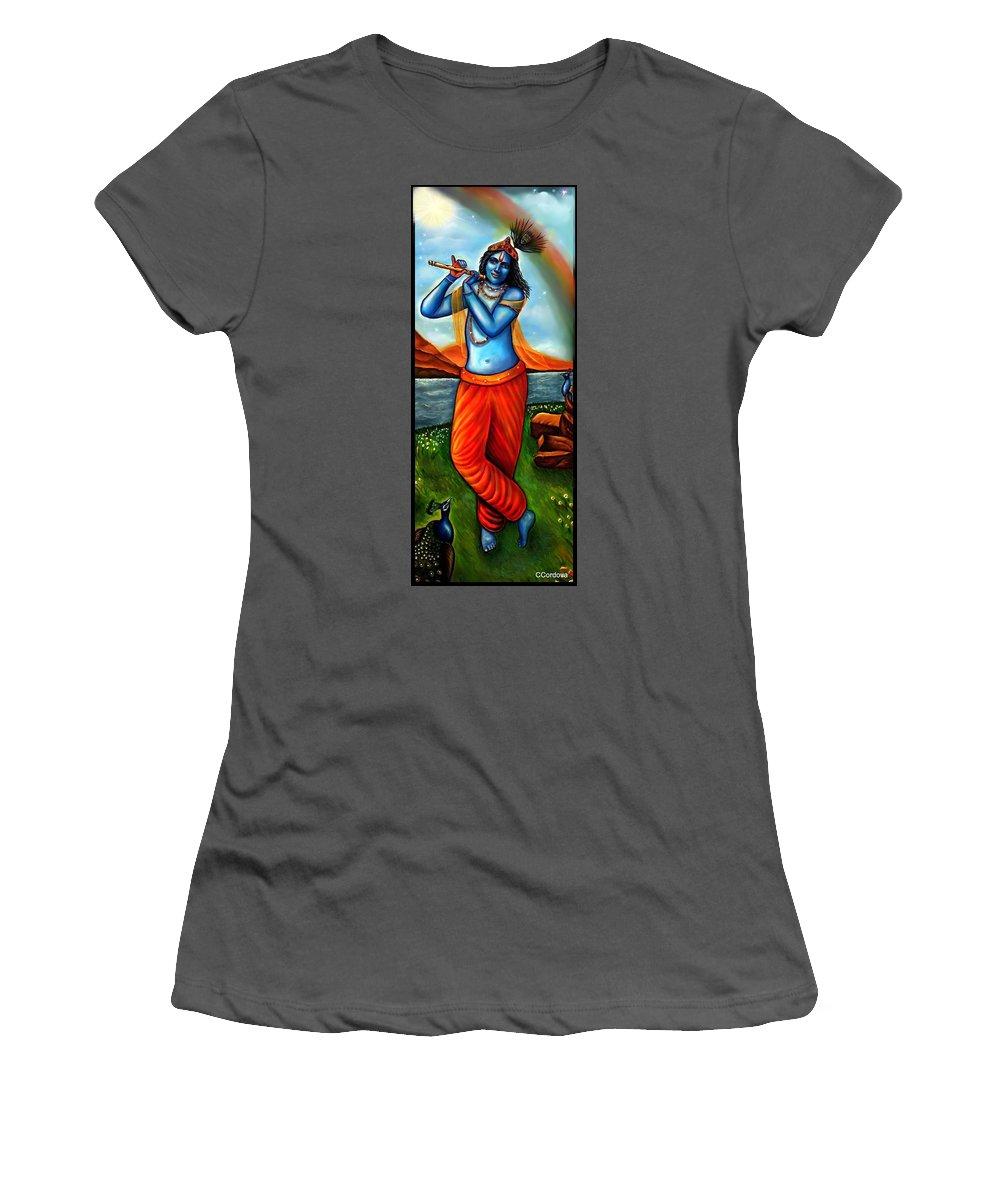 Lord Krishna Women's T-Shirt (Athletic Fit) featuring the painting Lord Krishna- Hindu Deity by Carmen Cordova