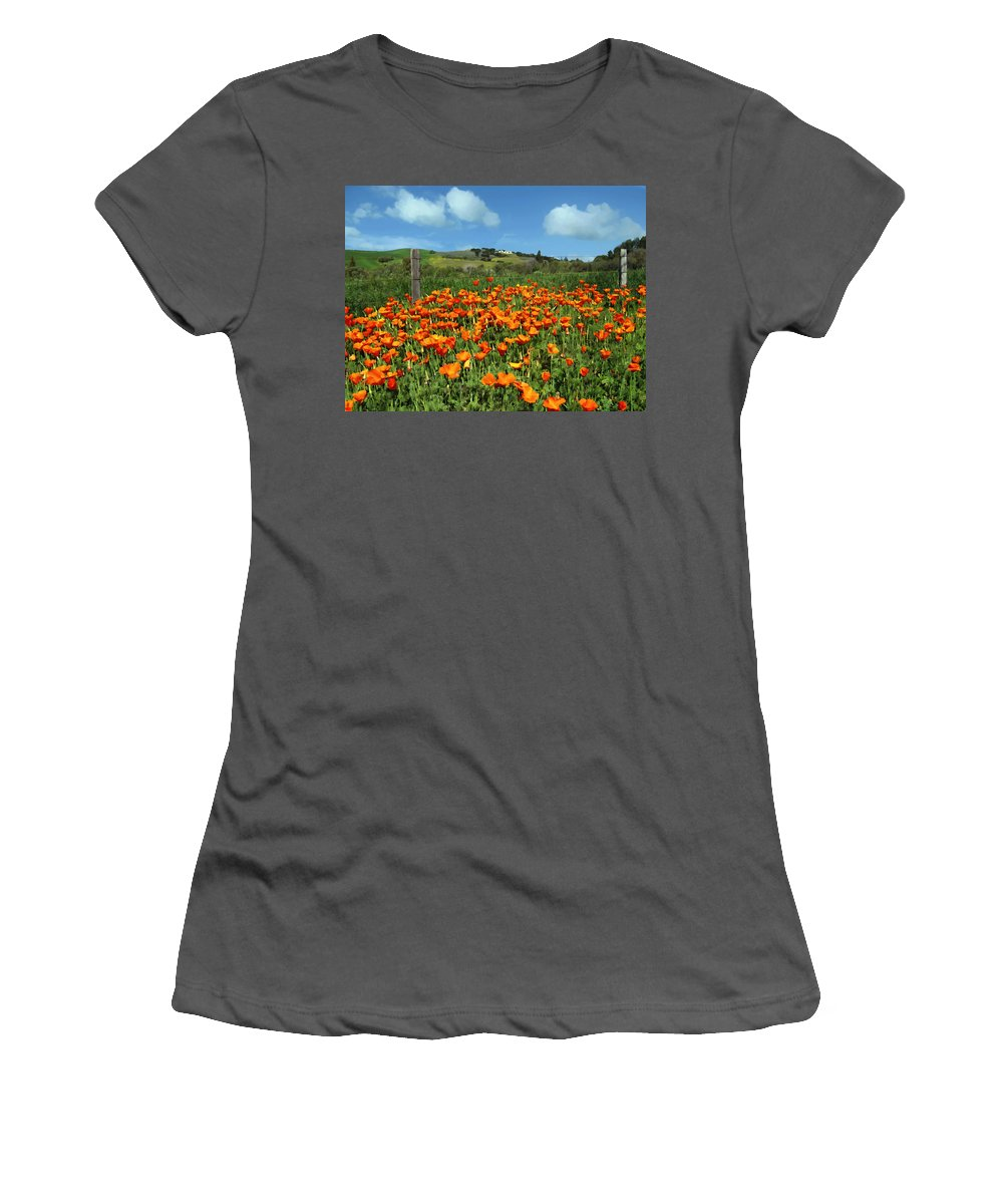 Poppies Women's T-Shirt (Athletic Fit) featuring the photograph Los Olivos Poppies by Kurt Van Wagner