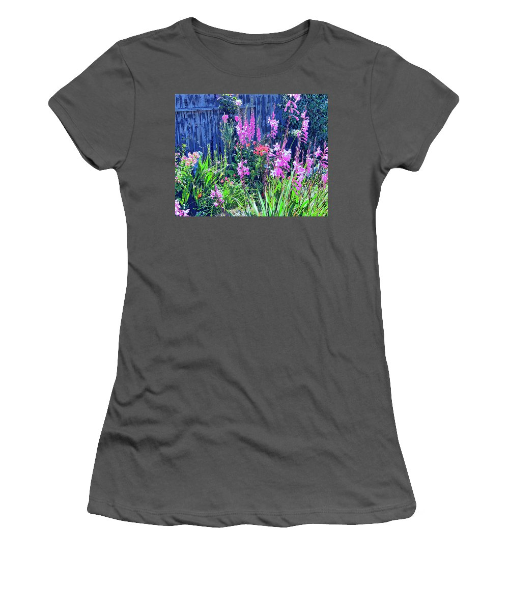Los Osos Flower Garden Women's T-Shirt (Athletic Fit) featuring the mixed media Los Osos Flower Garden by Dominic Piperata