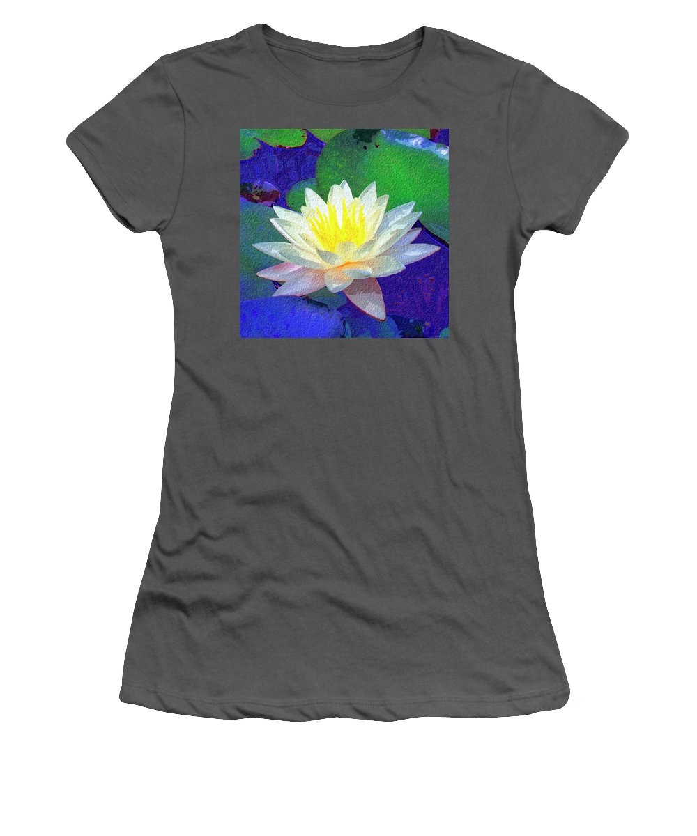 Lotus Grace Women's T-Shirt (Athletic Fit) featuring the painting Lotus Grace by Dominic Piperata