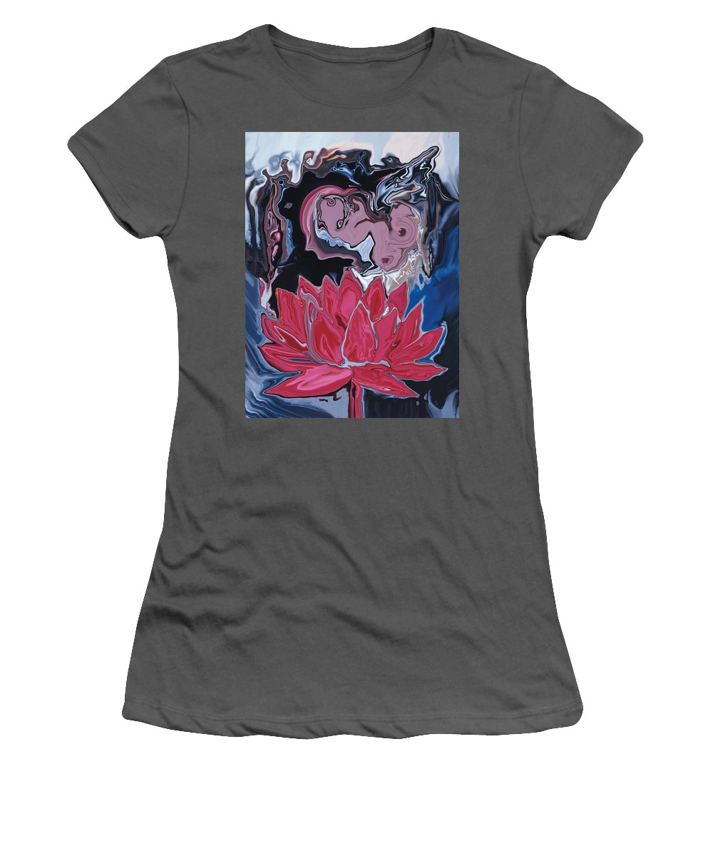 Angel Women's T-Shirt (Athletic Fit) featuring the digital art Lotus Love by Rabi Khan