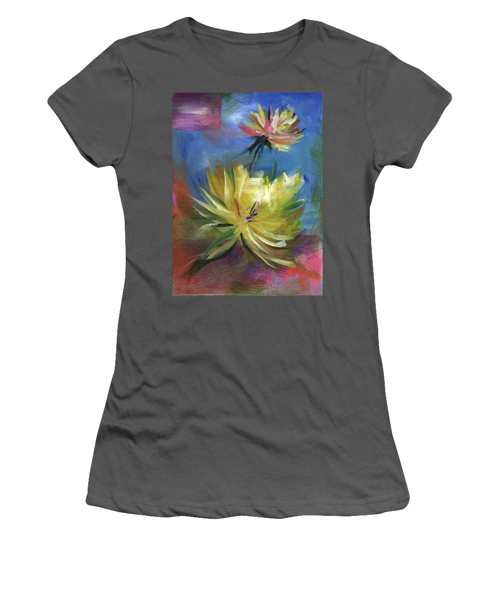 Flower Women's T-Shirt (Athletic Fit) featuring the painting Lotus by Melody Horton Karandjeff