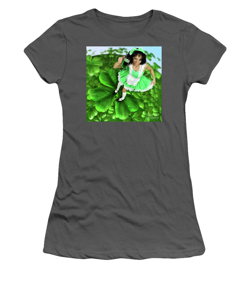 Green Women's T-Shirt (Athletic Fit) featuring the photograph Lovely Irish Girl With A Glass Of Green Beer by Oleksiy Maksymenko