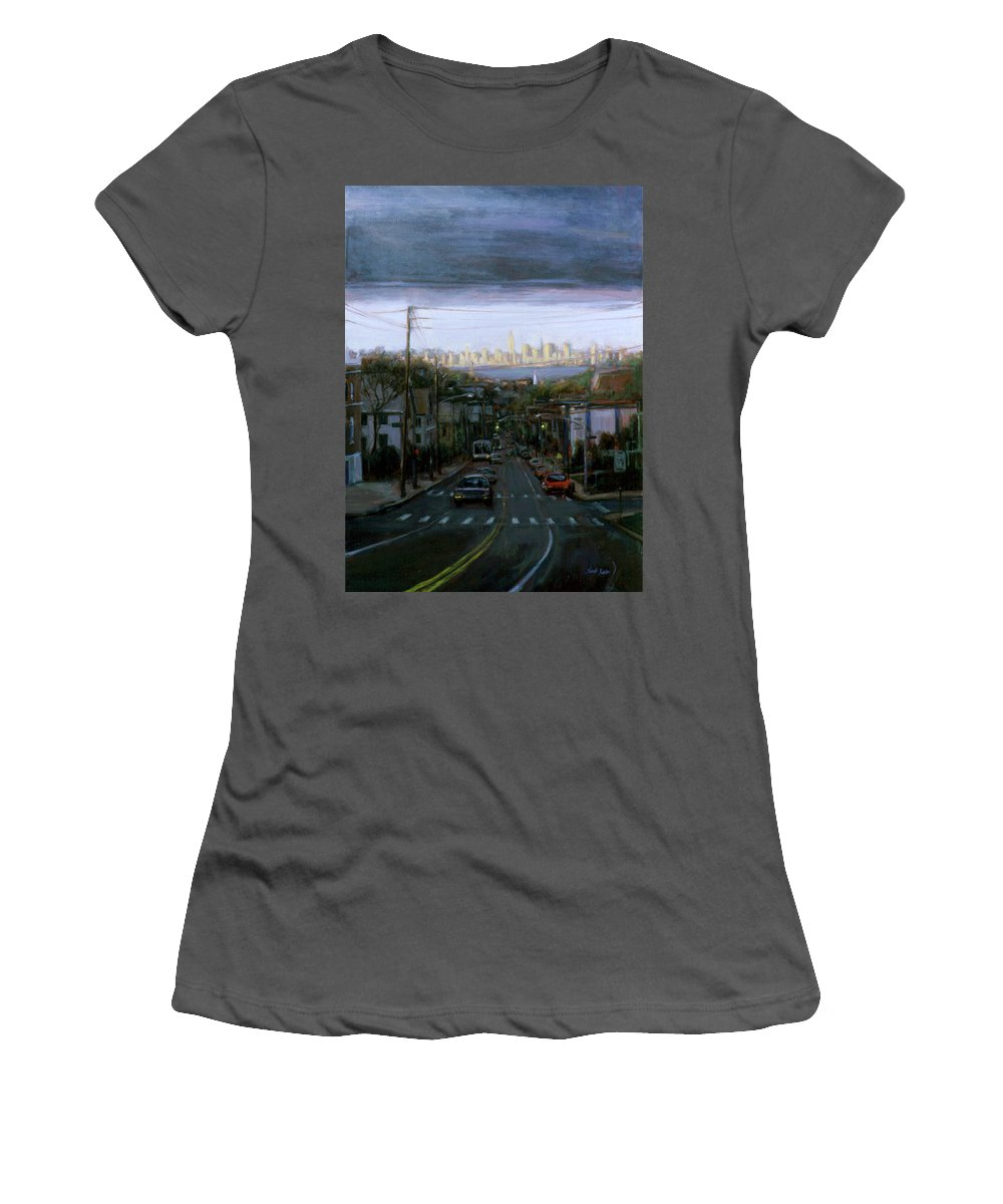 Manhattan Skyline Women's T-Shirt (Athletic Fit) featuring the painting Lower Manhattan 2002 by Sarah Yuster