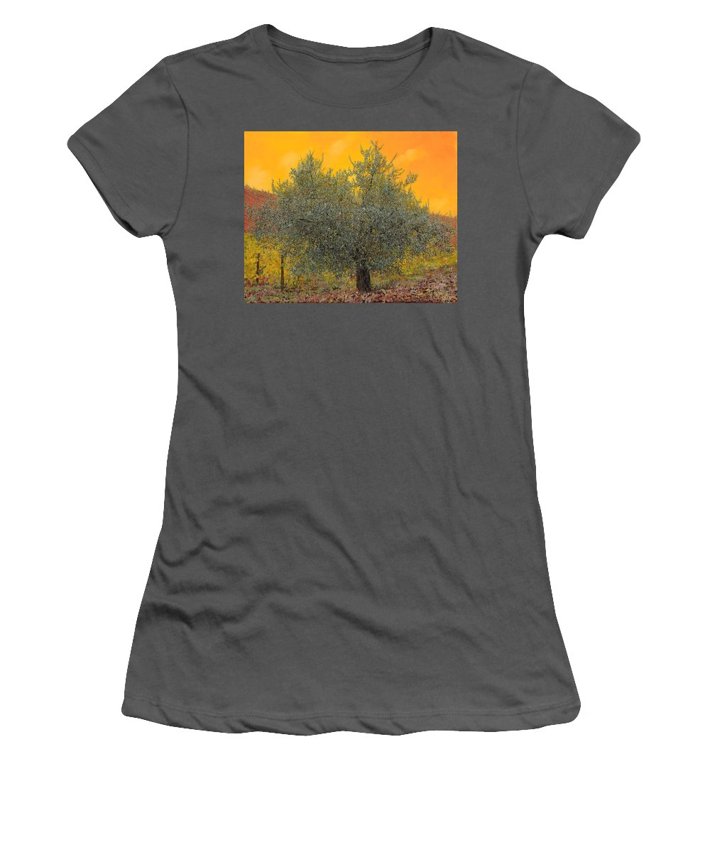Olive Tree Women's T-Shirt (Athletic Fit) featuring the painting L'ulivo Tra Le Vigne by Guido Borelli