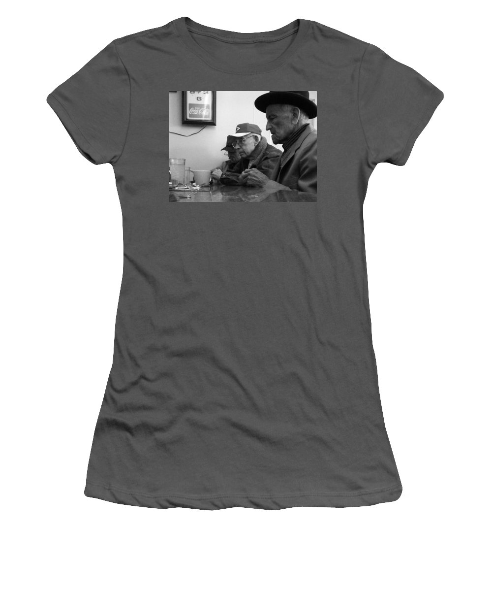 Diner Women's T-Shirt (Athletic Fit) featuring the photograph Lunch Counter Boys - Black And White by Tim Nyberg