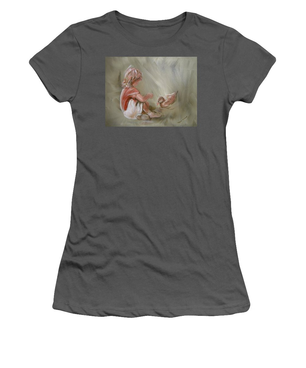 Girl Women's T-Shirt (Athletic Fit) featuring the painting Lunch Pals by Regina Walsh