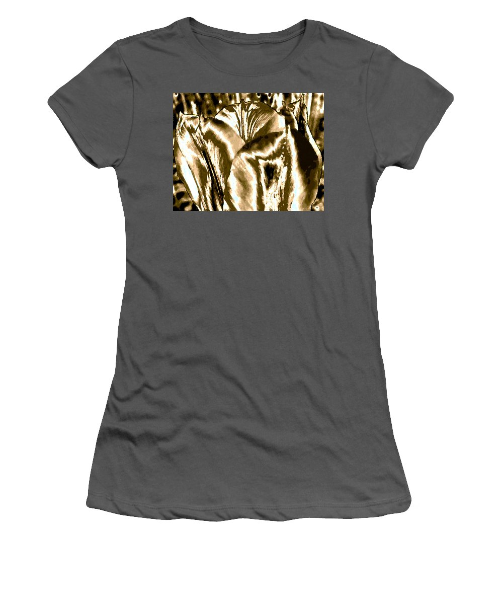 Abstract Women's T-Shirt (Athletic Fit) featuring the digital art Lustrous Golden Tulip by Will Borden