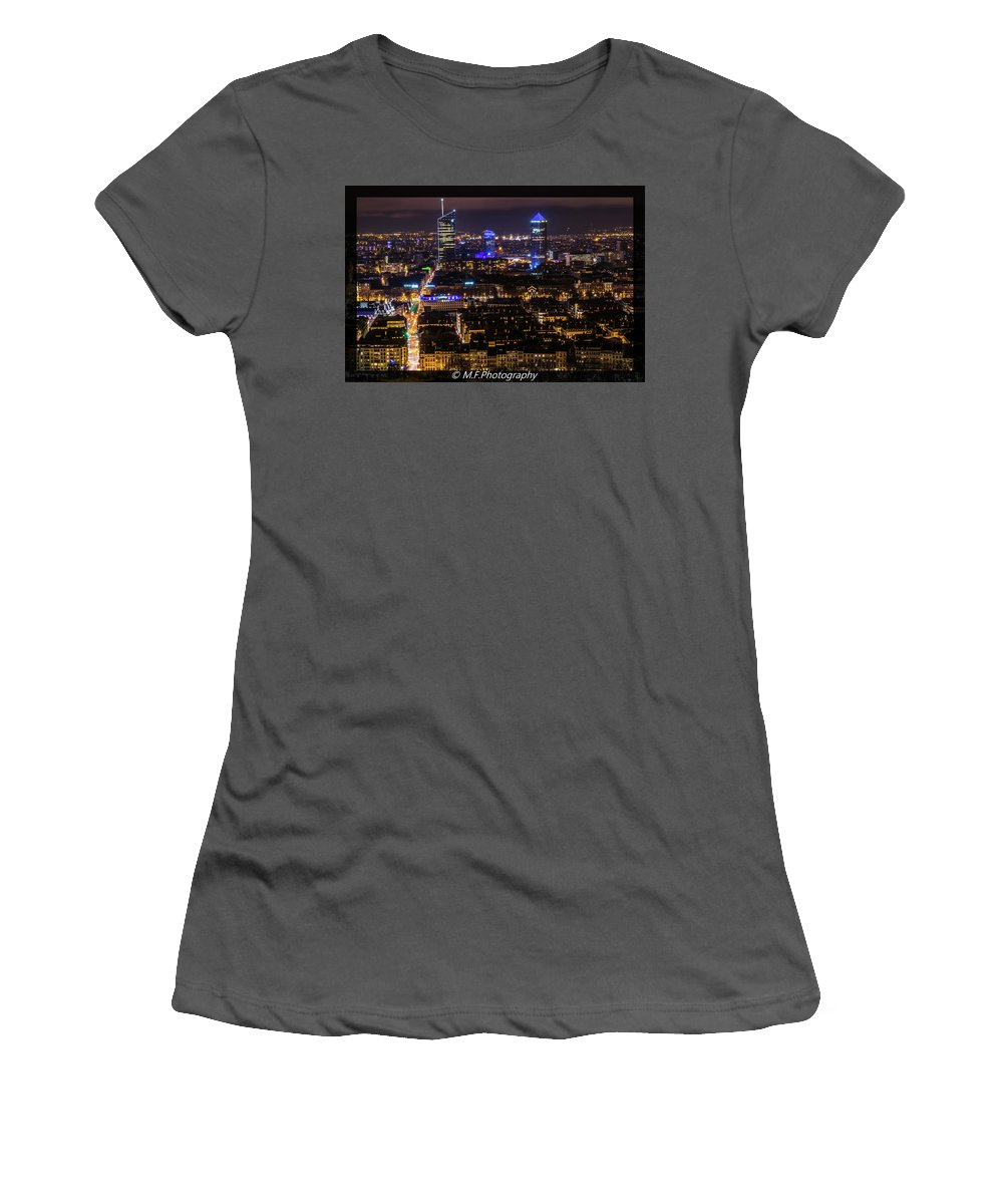City Skyscrapers Night No People Architecture Skyline Urban Landscape Buildings Illuminated Travel Downtown Business Sky Tall Huge Blue Yellow Modern Office Towers Light Streets Cold Women's T-Shirt (Athletic Fit) featuring the photograph Lyon's Skyscrapers by Fronie Mihnea