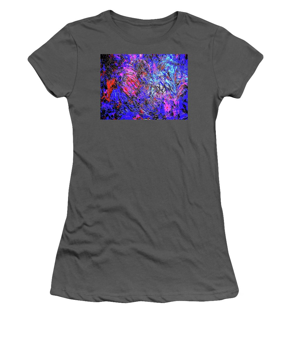 Painting Acrylics Prints Women's T-Shirt (Athletic Fit) featuring the painting Magic Blue by Monique's Fine Art