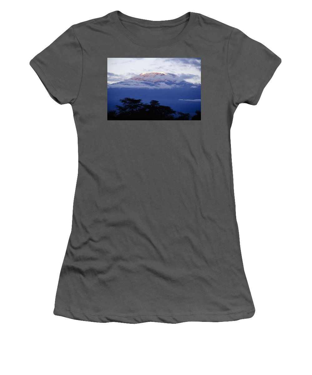 Africa Women's T-Shirt (Athletic Fit) featuring the photograph Magnificent Mount Kilimanjaro by Michele Burgess