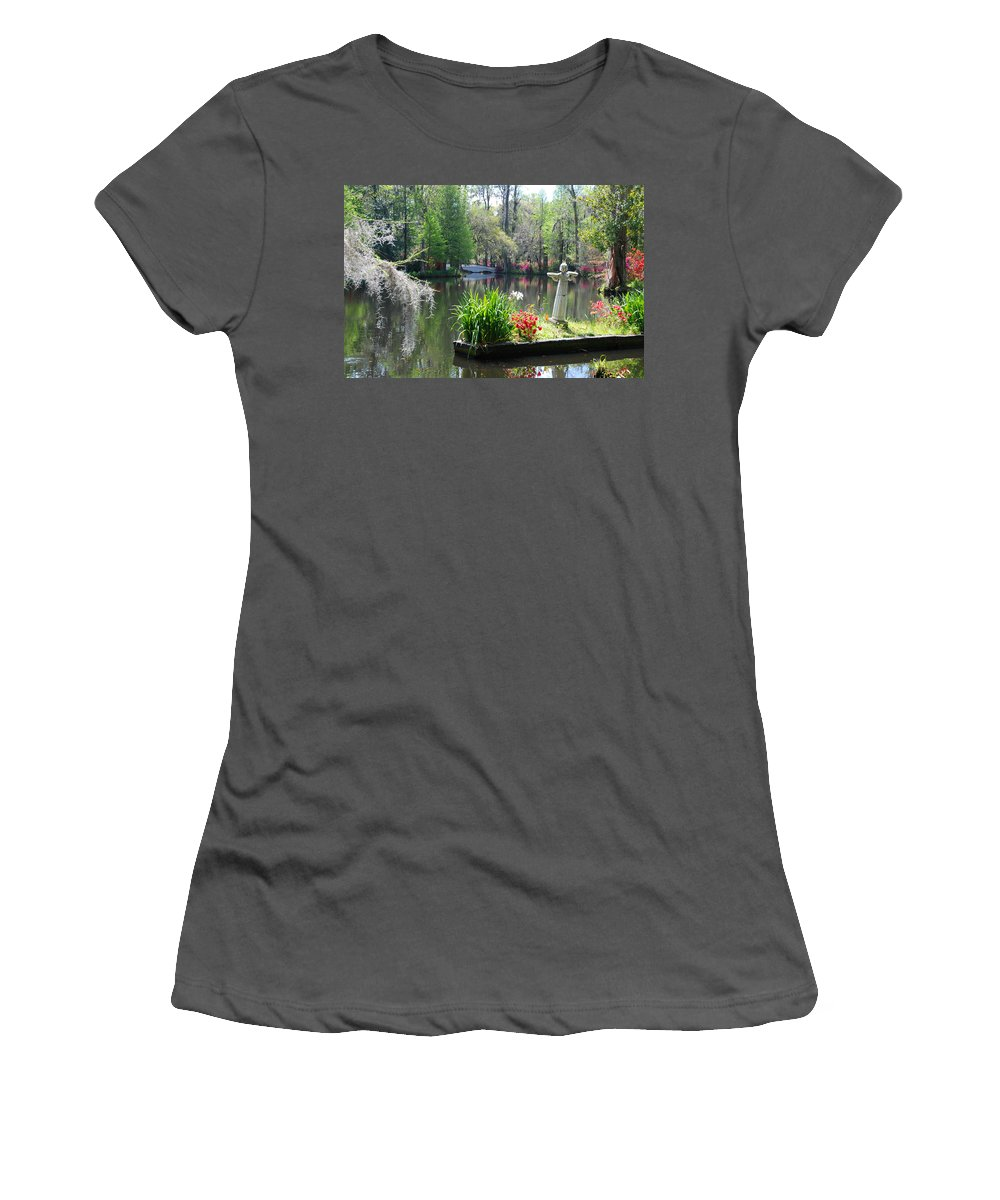 Photography Women's T-Shirt (Athletic Fit) featuring the photograph Magnolia Gardens In Charleston by Susanne Van Hulst