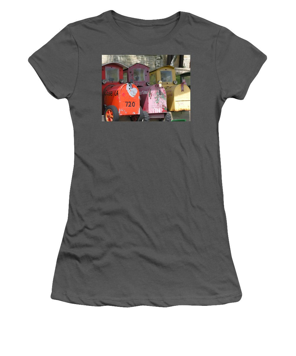 Mail Women's T-Shirt (Athletic Fit) featuring the photograph Mail Boxes Wi by Diane Greco-Lesser