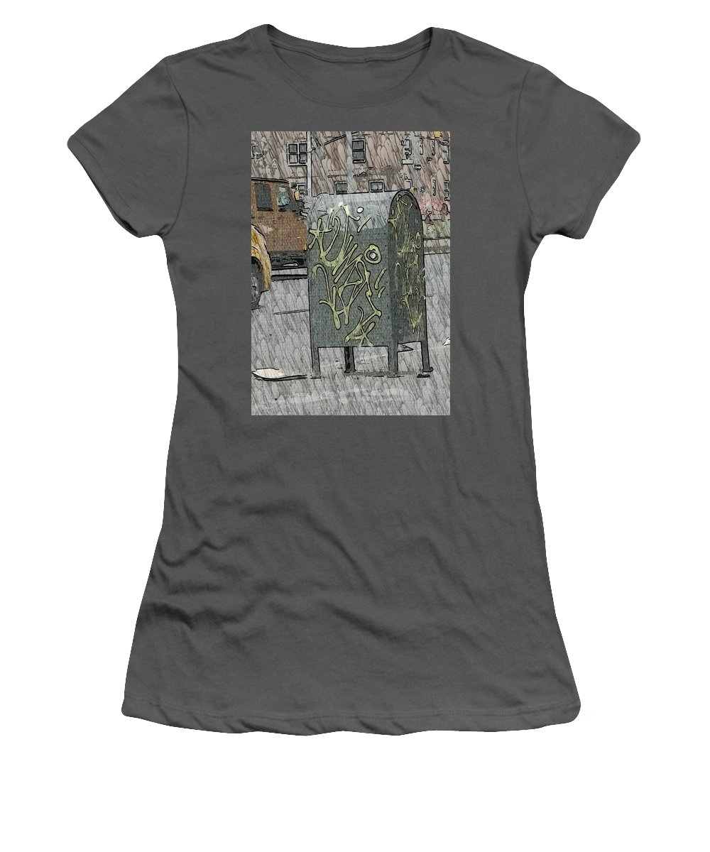 Mailbox In Harlem Women's T-Shirt (Athletic Fit) featuring the photograph Mailbox Harlem by Sheryl Eisner