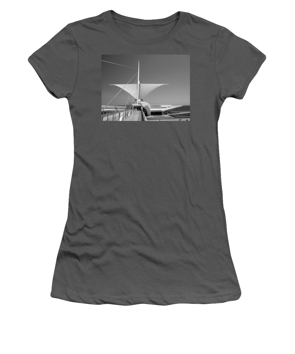 Mam Women's T-Shirt (Athletic Fit) featuring the photograph Mam Wings Spread B-w by Anita Burgermeister